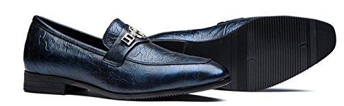 OPP Herren Herbst Pinsel-Retro-echtes Leder-Slip-On Prägung Entwurfs schuhe Blau