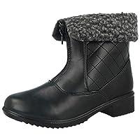 Antonia Dolfi Ladies Faux Leather Black Faux Fur Sheepskin Trim Low Flat Block Heel Chelsea Ankle Boots Size 3-8 (UK 4/ EU 37, Black-Zip)