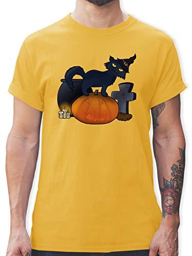 Halloween - Halloween Katze mit Hexenhut - XXL - Gelb - L190 - Herren T-Shirt und Männer Tshirt