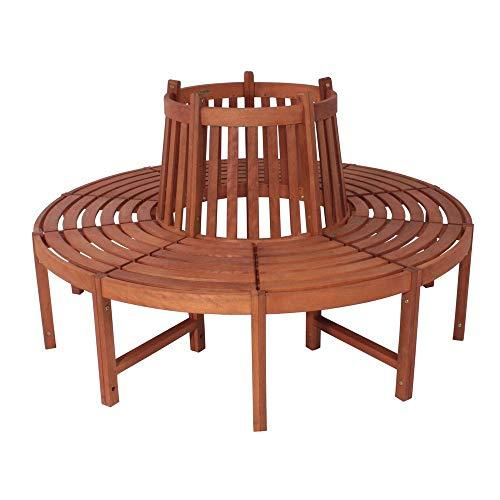 nxtbuy Baumbank Fontana, medium, rund - Gartenbank aus massivem geöltem Eukalyptusholz - stabile runde Sitzbank - Braune Outdoor-bänke