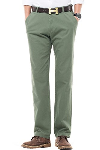 INFLATION Men's Casual Chinos Trousers 100% Cotton Tapered Flat Front Smart Dress Pants, 16 Colors