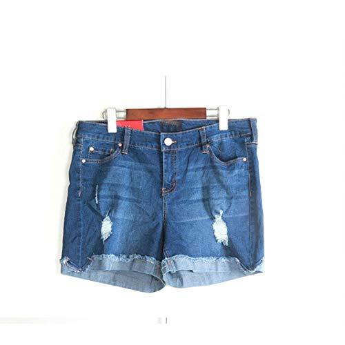 Plus Size Stretch-twill Shorts (DBLSHA Plus Size Wasserwäsche Frauen Hohe Taille Saum Gerollt Gerissene Denim-Shorts Weibliche Klassische Baumwolle Gerade Lässig Stretch-Boden)