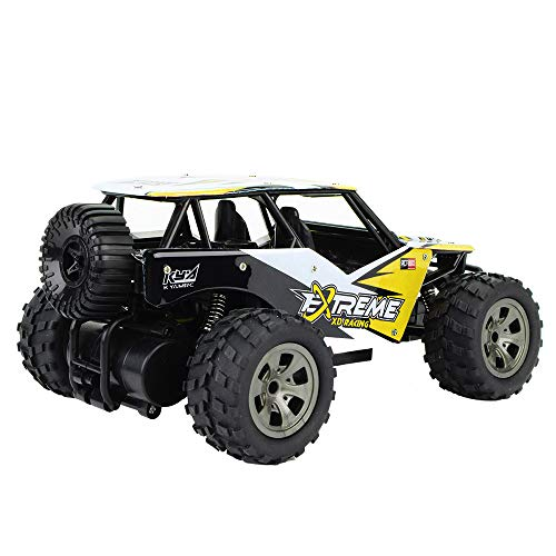 Fulltime E-Gadget 1:18 2WD High Speed 15 km / h RC Rennwagen Fernbedienung Legierung CaseTruck Off-Road Buggy Spielzeug Ferngesteuert Auto Fahrzeug Spielzeug für Kinder Jungen Mädchen (Gelb)