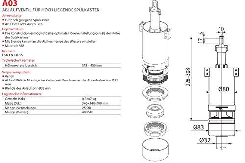 Spülgarnitur für UP Spülkasten Ablaufventil mit Spülung Heberglocke für WC
