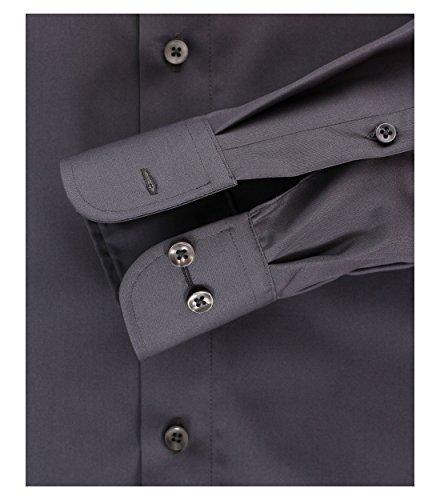 Michaelax-Fashion-Trade - Chemise business - Uni - Col Chemise Classique - Manches Longues - Homme Gris - Anthrazit (750)