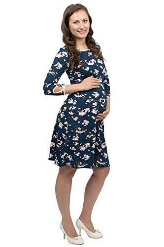 Viva la Mama - Elegantes Kleid für Schwangerschaft und zum Stillen, knielanges Damenkleid Umstandsmode - Milla - blau Kirschblüten - S