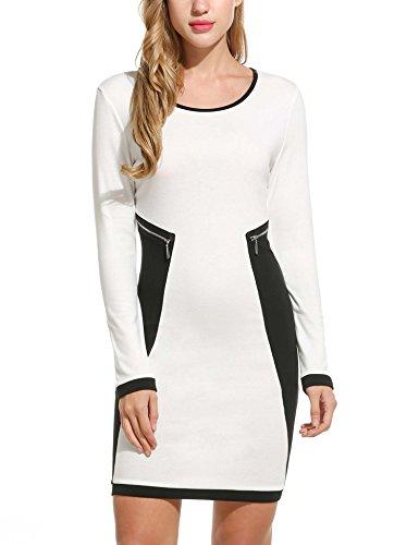 Zeagoo Kontrast Kleid Damen Patchwork Bodycon Stretch Lange Ärmel Figurbetontes Strickkleid mit Reißverschluss Details (Weiß)