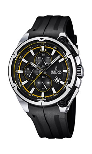 Festina Chrono Bike 2015 Men's Quartz Watch with Black Dial Chronograph Display and Black Rubber Strap F16882/7