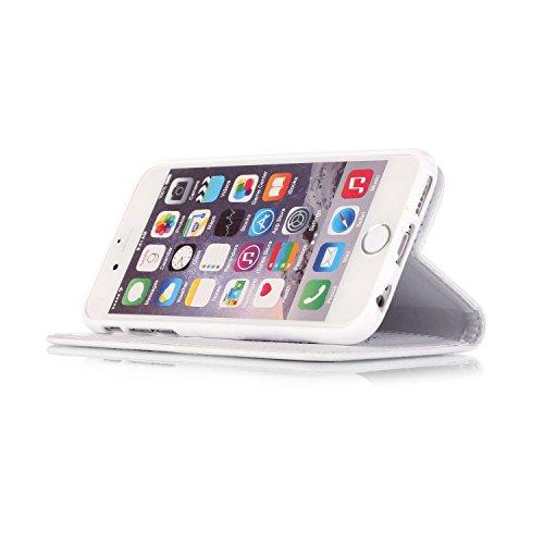 Ooboom® iPhone 8 Plus/iPhone 7 Plus Hülle Traumfänger Totem Blume Flip PU Leder Schutzhülle Handy Tasche Case Cover Wallet Standfunktion mit Kartenfächer Trageschlaufe Magnetverschluss für iPhone 8 Pl Weiß Lila