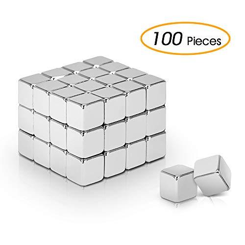 AODOOR Neodym Magnete, Magnete extra stark für Glas-Magnetboards, Magnettafel, Whiteboard, Tafel, Pinnwand, Kühlschrank, und vieles mehr,5 x 5 x 5 mm [100 Stücke] (Tun Basteln Mit Zu Kleinkindern)