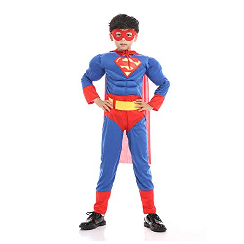 KAKAFASHION Jungen Kinder Halloween Cosplay Avengers Captain America Captain Superman Spiderman Iron Man Panther Muscle Bühne Performance Kostüm Overall + Maske S-L 95-140 cm