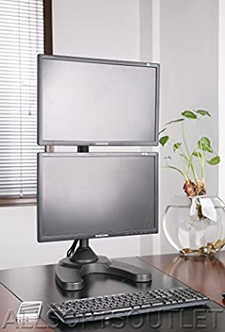 VERTICAL DUAL DOUBLE TWIN LCD LED TFT COMPUTER MONITOR FREESTANDING DESK STAND MOUNT HEAVY DUTY FULLY ADJUSTABLE FOR 2 / TWO SCREENS 15-27