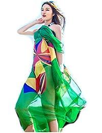Femme Impression de Fleurs Polyvalent Paréo Cache-maillots Sarong Écharpe(#6)