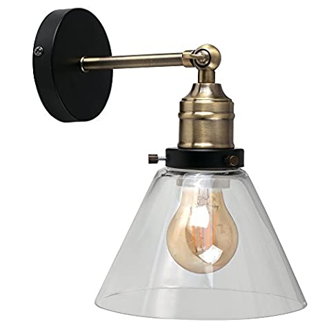 Antique Brass & Black Metal Adjustable Knuckle Joint Wall Light with a Tapered Clear Glass Shade