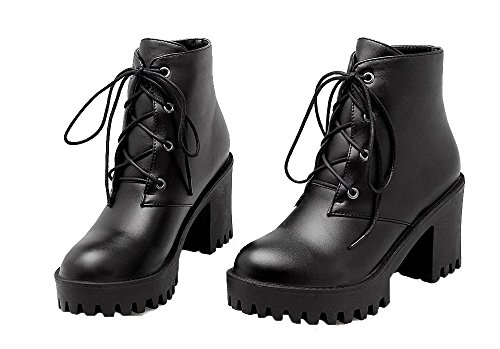 AgeeMi Alto Couleur Tacco Cuir Bottes Rond Shoes Unie Lacet Femme Noir PU HwarHB