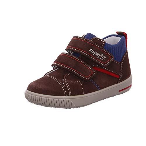 Superfit Baby Jungen Moppy Sneaker, Braun 30, 24 EU - Dunkelbraune Leder Kinder Schuhe