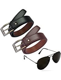 2e308141bc1 Royal Wood Men s Synthetic Leather Belts With Aviator Sunglass Combo for Men