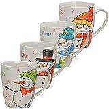 matches21 Tassen Kaffeetassen Weihnachtstassen Porzellan Let it Snow witzige Schneemänner bunt 4-fach 4er Set 10 cm