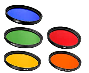 Ensemble de 5 filtres photo couleur : Rouge Vert Bleu Jaune Orange 52mm