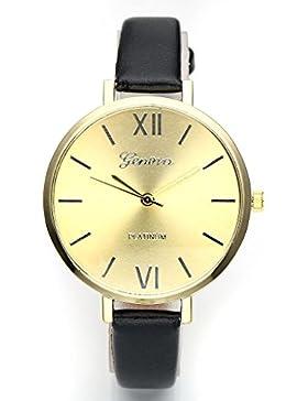 JSDDE Uhren,Genf Elegante Damen-Armbanduhr XS Slim PU Lederarmband Ladies Dress Analog Quarzuhr Minimalismus Damenuhr...
