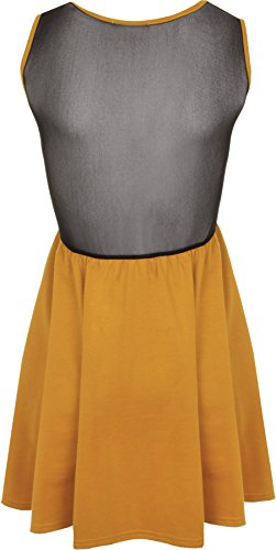 WearAll - Damen Mesh Skater Ärmellos Mini Kleid Gummizug Taille Top - 7 Farben - Größe 36-42 Senf