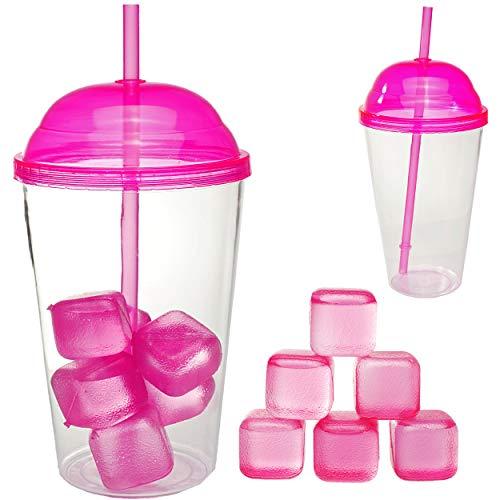 alles-meine.de GmbH großer XL - Becher - mit 6 Eiswürfel & Trinkhalm & Deckel - pink / rosa - 600 ml - transparent & durchsichtig - Trinkbecher - aus Plastik / Kunststoff - Eiswü..
