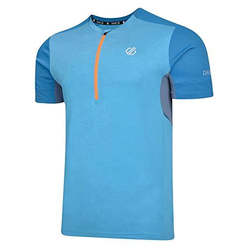 Dare 2b Herren Equall Lightweight Quick Drying Mesh Vented Half Zip Cycling Jersey, Atlantic Blue, m Stretch Half Zip Shirt