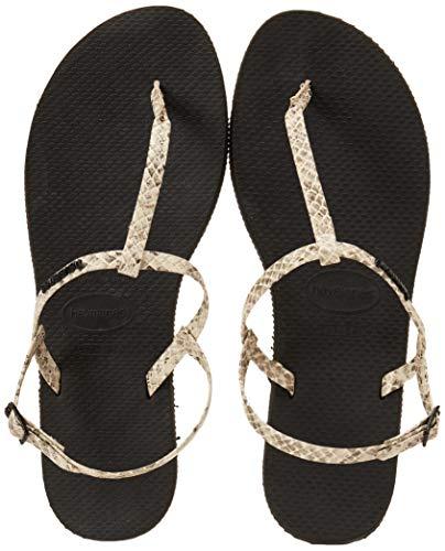Havaianas Unisex Schuhe Damen und Herren, Riviera Croco, Sandalen mit Zehentrenner und Riemen aus gemustertem Ökoleder, Beige (Beige), EU 39-40