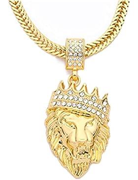 Colgante Animal para Hombre, LILICAT® Collar de Hip Hop de cadena cubana de moda, Regalo de Collar lleno de diamantes...