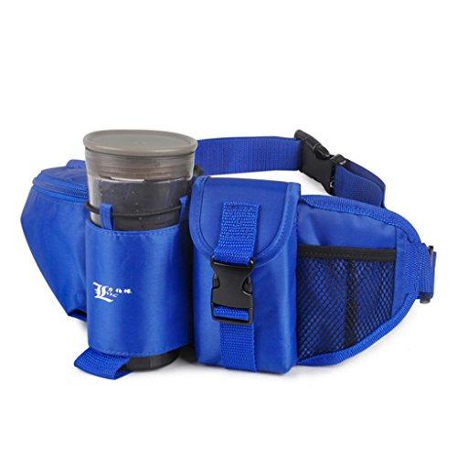 TRRE Multi-Funktions-Outdoor-Reisen Sportflasche Gürteltasche von Männern und Frauen Bergsteigen, L 42xm * W5cm * H 15cm Blau
