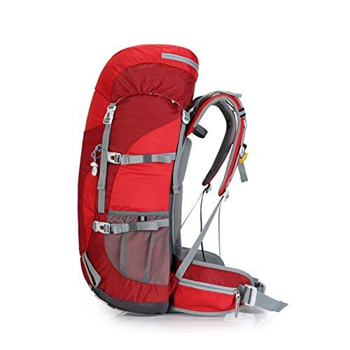 Zaini di grande capacità/Zaino outdoor professionale/Uomini escursionismo zaino/Zaino Campeggio-verde 50L rosso