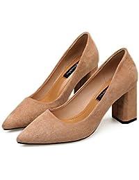 Punta con gruesos zapatos High-Heel boca superficial, satinado con Wild, Beige 37