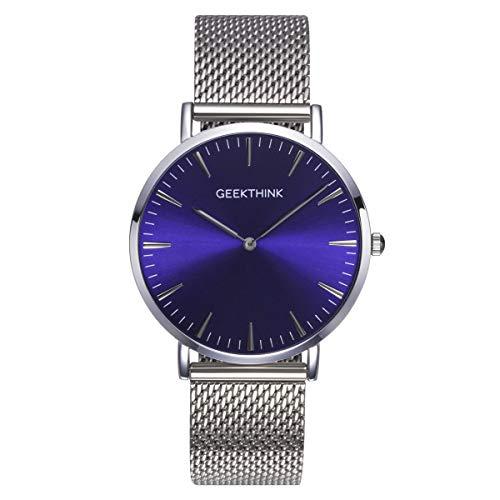 Fashion Minimalistischen Analog Quarz Herren Uhren mit Silber Milanaise Mesh Edelstahl Gurt Wasserdicht Ultra Thin Armbanduhr in Violett Blue Face