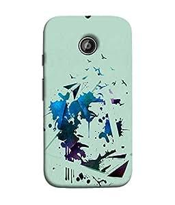 PrintVisa Designer Back Case Cover for Moto E2 (Spray painting colors with birds)