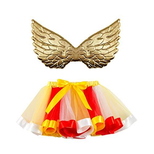 Mädchen Regenbogen Layered Rock Rüschen Tiered Tüll Tutu Kostüm + Flügel 2 Stück Anzug Mädchen Ballett Kostüm Fotos Karneval Rock 2-11 Jahre (Kostüm Seattle)