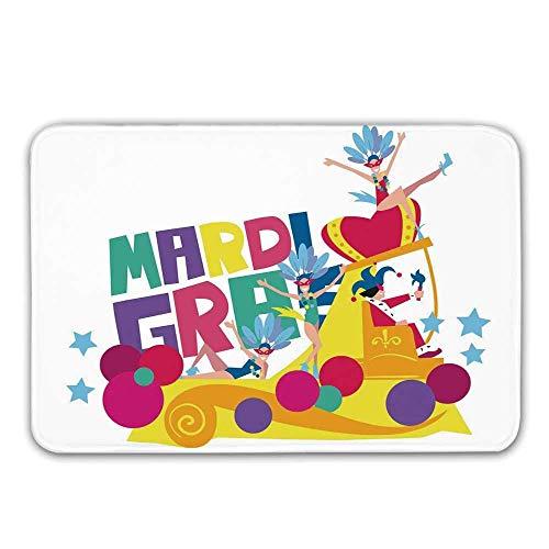 Kostüm Gras Themen Mardi - Kinhevao Mardi Gras rutschfeste Fußmatte, Festival Parade Thema Tänzer in Kostümen Bunte Punkte Sterne Abstraktes Design Dekorative Fußmatte für die Haustür Indoor Badematte