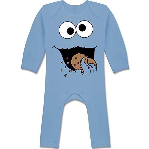 Kostüm Monster Baby Blau - Shirtracer Karneval und Fasching Baby - Keks-Monster - 12-18 Monate - Babyblau - BZ13 - Baby-Body Langarm für Jungen und Mädchen