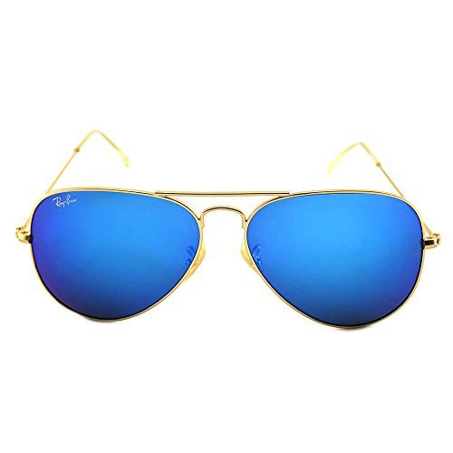 Ray-Ban Aviator Large Metal Sunglasses RB3025- Matte Gold Frame Crystal Blue Mirror RB3025-112-17-58  available at amazon for Rs.19465