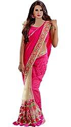 Vivera Women's Georgette Saree (VRVARUNI_RANI4_Pink_Free Size)