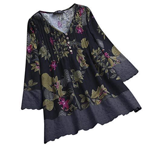 iHENGH Damen Herbst Winter Bequem Mantel Lässig Mode Jacke Frauen Frauen mit Langen Ärmeln Vintage Floral Print Patchwork Bluse Spitze Splicing Tops(Blau-A, 4XL)