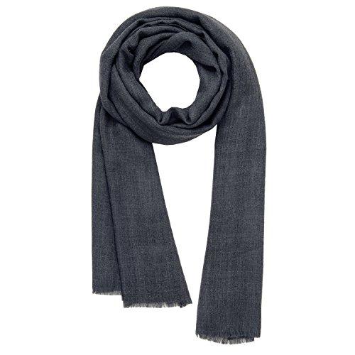 KASHFAB Kashmir Frauen Herren Winter Mode Solide Schal, Wolle Seide stole, Weich Lange Schal, Warm Paschmina Dunkel Grau (Lange Kaschmir-mischung)