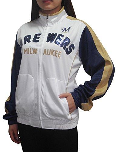 MLB Milwaukee Brewers Damen Athletic Zip-Up Trainingsjacke mit Pailletten Multicolor