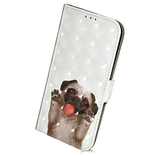 Herbests Kompatibel mit Samsung Galaxy A40 Handyhülle Leder Klapphülle Glitzer Bling 3D Bunt Retro Muster Schutzhülle Flip Case Leder Tasche Handytasche Lederhülle,Haustier Hund