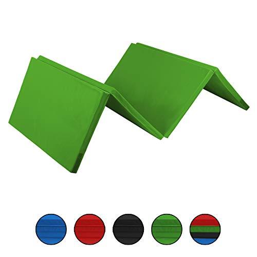 ALPIDEX Klappbare Leichtschaum Turnmatte 240 x 120 x 5 cm RG 18 mit Klettecken 3fach klappbar mit Antirutschboden, Farbe:grün