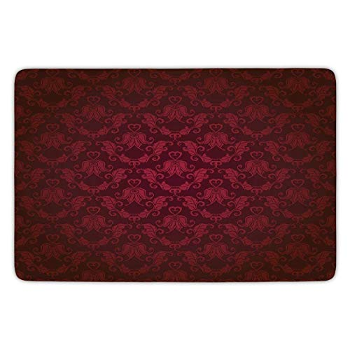 errterfte Maroon,Victorian Damask Pattern with Vignette Effect Royal Revival Ancient Rich Motifs Flannel Microfiber Soft Absorbent Personalized Mat