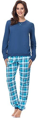 Lange Muster Warme Baumwolle (Cornette Damen Schlafanzug 634 2016 (Jeans-10 (Meggie), M))