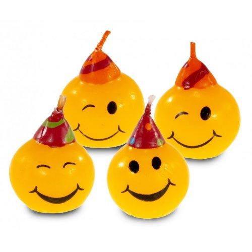 lot de 4 bougies smiley décoration gateau anniversaire 4009775399445