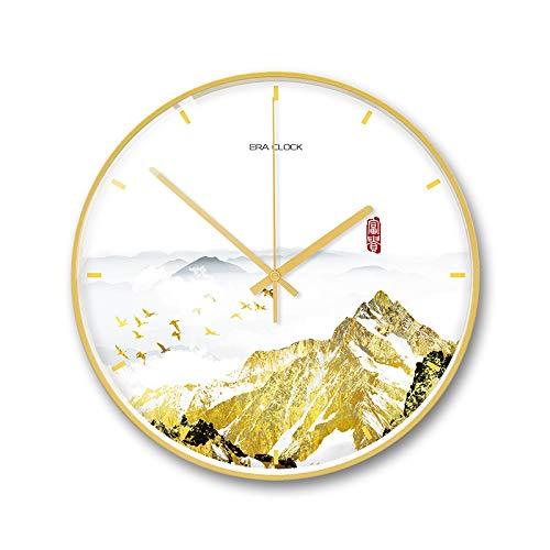 sche Wanduhr große Wanduhr stumm für Küche/Schlafzimmer/Wohnzimmer/kreative Uhr nach Hause 3 Berge 12 Zoll Elegantes Weiß ()