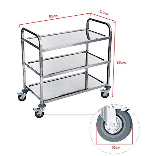 DXP Carrelli da cucina in acciaio, carrello di servizio, carrello ...