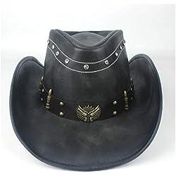 SAIPULIN Unisex Hombres Mujeres Cuero Western Cowboy Hat Invierno Outblack Jazz Jazz Sombrero Cowgirl Cap Tamaño 58-59 CM Negro (Color : Negro, tamaño : 58-59cm)